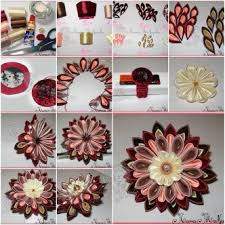 How To Make Multi Layer Ribbon Flower Step By DIY Tutorial Instructions