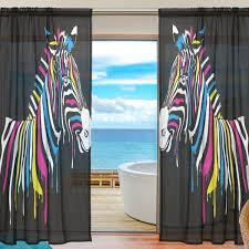 Amazoncom SEULIFE Window Sheer Curtain Animal Zebra Print