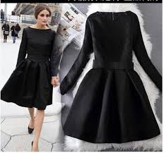 Olivia Palermo Elegant Black Dresses Jacquard Long Sleeve Vintage Hoppen Style A Line Ball Gowns