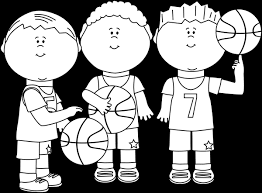 Black and White Boy Basketball Players Clip Art Black and White