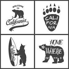 Set Of Vintage Monochrome California Emblems And Design Elements Typography Illustrations Republic Bear