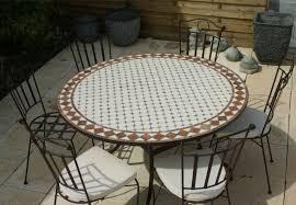 table ronde mosaique fer forge table jardin mosaique ronde 130cm céramique blanche et ses