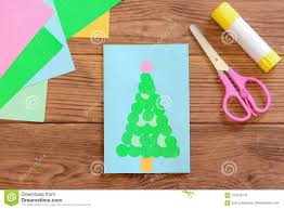 Cute Christmas Tree Card Greeting Colored Paper