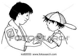 Drawing of Illustration of occupational therapist helping child