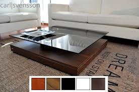 design couchtisch tisch v 570 nussbaum walnuss getöntes glas carl svensson