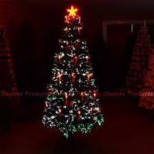 4ft LED Fibre Optic Christmas Tree Pre Lit Xmas Decoration With Candle Bow
