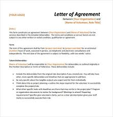letter agreement template letter of agreement samples template