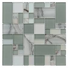 shop allen roth volcanic laser cubes mosaic glass wall tile