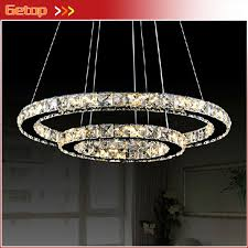 Modern Minimalist Restaurant Living Room Crystal Lamp Circular LED Chandelier Creative Round Light Decorative Lighting