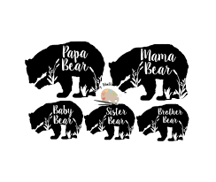 Bear Family Svg Mama Papa Baby Sister Brother