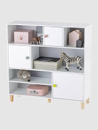 bibliothèque chambre bébé étagère bibliothèque enfant 3 portes gris blanc vertbaudet