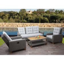 gartengarnitur hwc g28 sitzgruppe lounge set sofa akazie holz halbrundes rattan verstellbar grau kissen hellgrau
