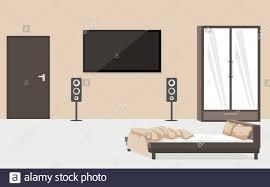 moderne schlafzimmer einrichtung mit vektor flachdarstellung