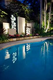 Outdoor Pool Feature Screen Laser Cut Leaf Light Boxes Toowong