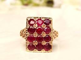 deco ruby and ring vintage ruby spinel alternative engagement ring 14k gold
