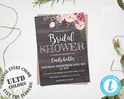 Rustic Floral Bridal Shower Invitation Template Printable Barn Wood