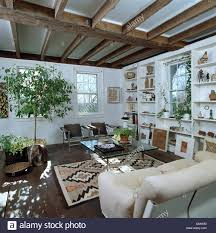 kleiner grüner baum in weißen land wohnzimmer mit fenster