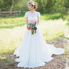Rustic Wedding Dresses Discount Bohemian Short Cap Sleeve Lace Chiffon A
