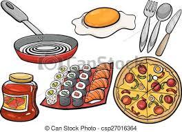 ensemble cuisine nourriture ensemble dessin animé objets cuisine arts clip