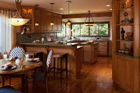 brilliant mission style kitchen lighting above bamboo table