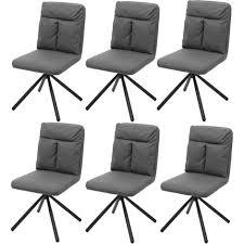 6x esszimmerstuhl hhg 735 küchenstuhl stuhl drehbar auto position textil stoff grau