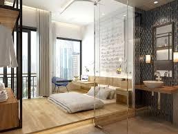 chambre attenante chambre coucher moderne lit bas déco murale coin bureau salle