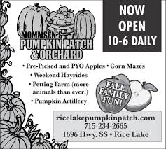 Sand Mountain Pumpkin Patch by Now Open Mommsen U0027s Pumpkin Patch And Orchard Rice Lake Wi