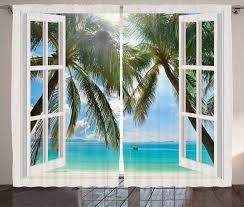 gardine schlafzimmer kräuselband vorhang mit schlaufen und haken abakuhaus tropisch fenster zum exotischen strand kaufen otto