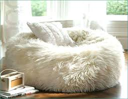 Deeply Comfortable White Fur Bean Bag Chair Into The Glass