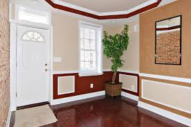 interior two tone walls with chair rail new decoration