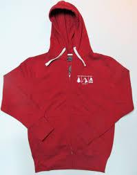 men u0027s red zip up hoodie with white logo