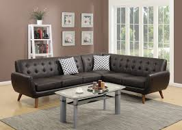 100 2 Sofa Living Room Piece Sectional Espresso Bonded Leather Loveseat Wedge Tufted Cushion Couch