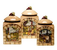Wine And Grape Kitchen Decor Ideas by Amazon Com Certified International Tuscan View 3 Piece Canister