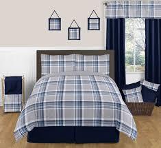 Modern Grey And Navy Blue Plaid Cheap Boy Teens Full Queen Bedding Set