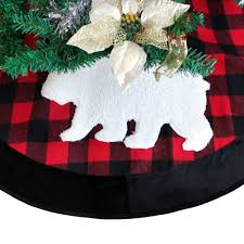 Extra Large 50 Plaid Christmas Tree Skirt With Black Suede Border Buffalo Check Sherpa Moose Applique Embroidery In Skirts From Home Garden On