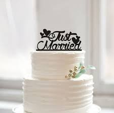 Just Married Cake Topper Unique Wedding Toppers Rustic Heart Design Traditional
