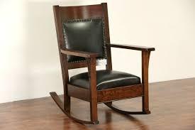 Arts & Crafts Mission Oak 1910 Antique Rocking Chair, New Leather Rocker