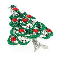Multicolor Crystal Green Christmas Tree Pin Swarovski BroocheChain Not Included