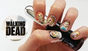 Walking Dead Pumpkin Designs by Zombies From The Walking Dead Inspired Nail Art Youtube