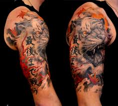 Classic Black And Grey Asian Tiger Head Tattoo On Right Shoulder