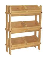 Tiered Wooden Display Floor Standing 6 Removable Bins Oak