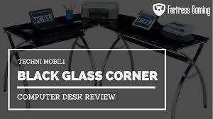 techni mobili black glass corner computer desk review fg