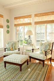 Seabrook Island SC Beach Home Tour Pale Green Gingham And Bamboo Blinds