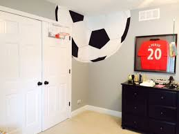 This Soccer Ball Was Painted In A Corner Of 10 Year Old Boys Themed Room