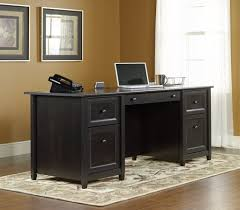 tables black executive office sauder shoal creek desk jamocha wood