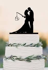 Custom wedding cake topper Hooked on Love personalized topper