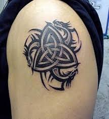 Celtic Knot And Tribal Dragon Tattoo On Left Shoulder
