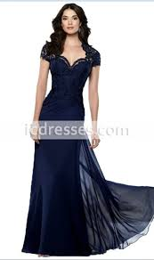 2016 New Design Vestido Sereia Navy Blue Lace Mother Of The Bride Dresses Short Sleeve Dress