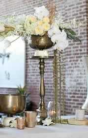 25 Gold Metal Pedestal Table
