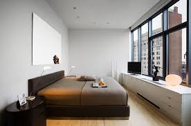 BedroomsSmall Minimalist Bedroom With Brown Bed And Modern Nightstand Also Long White Media Cabinet